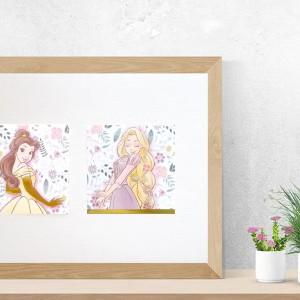 plakat z księżniczkami Disneya, ładny plakat dla dziewczynki, księżniczki plakat pastelowy