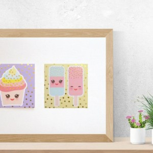 pasteloway obrazek dla dzieci, grafika ze słodyczami, ciastka plakat, dekoracja do kuchni