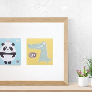 panda plakat, krokodyl plakat, pastelowy obrazek do pokoju dziecięcego, zwierzęta plakat