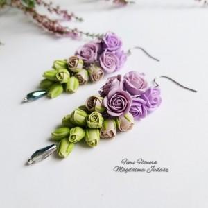 Cieniowane kolczyki z różyczkami