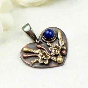 Miedziany wisiorek serce z lapis lazuli c855-4