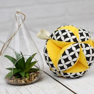 Piłeczka puzzlowa Takane Montessori – czarne maroko + żółty