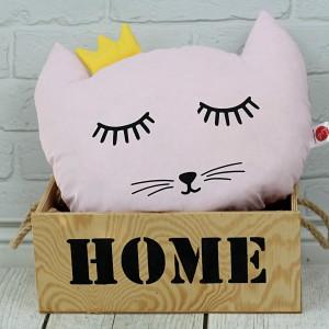 Poduszka kotek z koroną –różowy