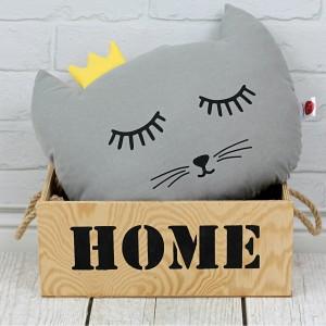 Poduszka kotek z koroną –szary