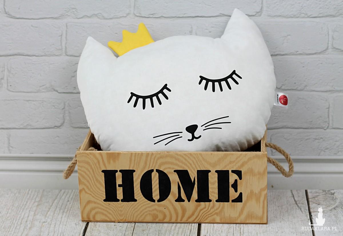 Poduszka kotek z koroną –biały