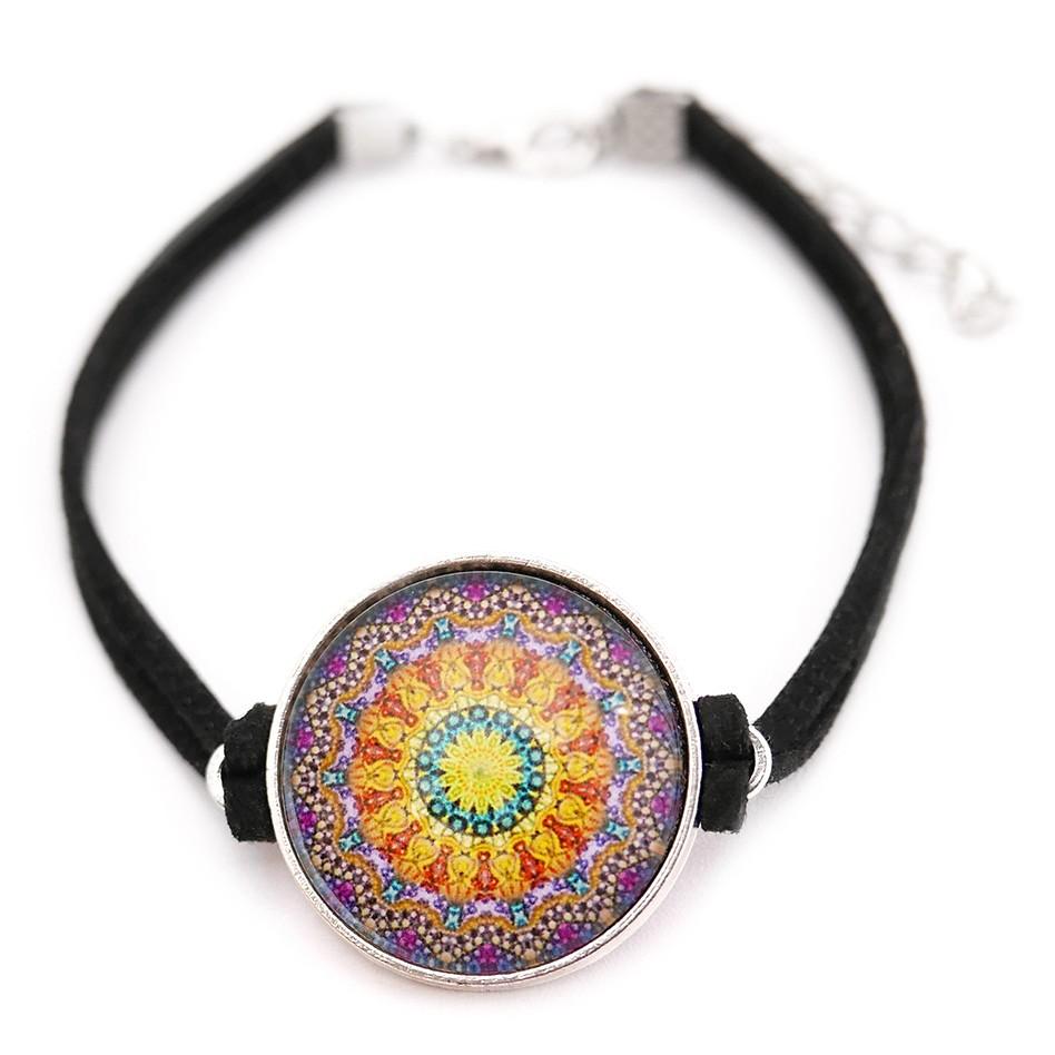 BRANSOLETKA SZCZĘŚCIA z motywem MANDALI orient boho etno zen amulet MANDALA POMYŚLNOŚCI na prezent