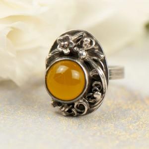 Romantyczny srebrny pierścionek z agatem a667