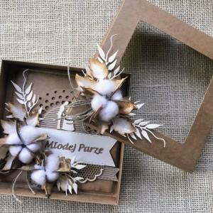001 Komplet ślubny z kwiatem bawełny
