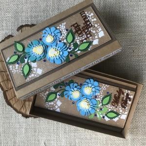 011 Folkowy komplet ślubny kartka w pudełku