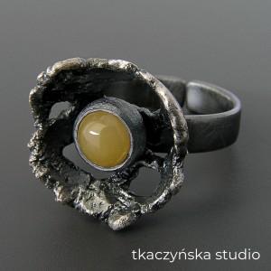 Jesienny nastrój - pierścień, żółty awenturyn. NA ZAMÓWIENIE