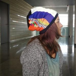 czapka damska patchworkowa smerfetka