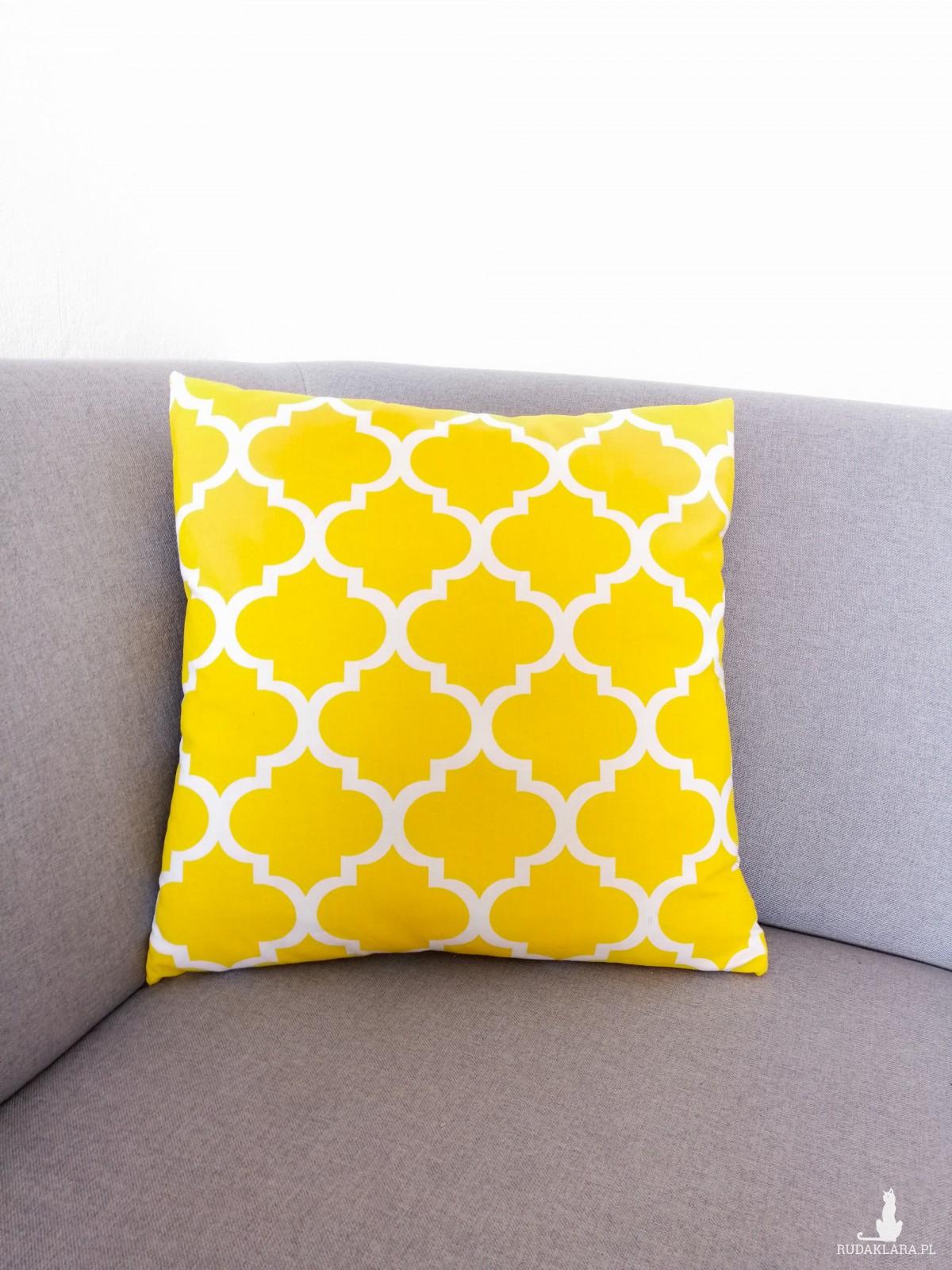 Poduszka dekoracyjna, żółty maroko,45x45cm.