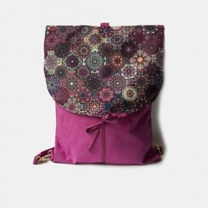 Różowy plecak z klapą azulejo