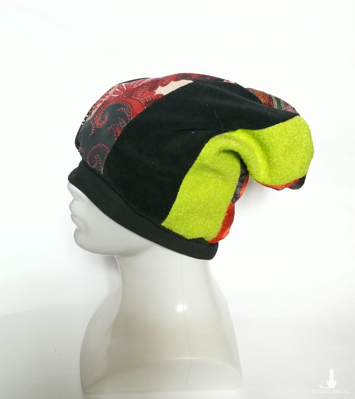 czapka patchworkowa na podszewce frida kahlo