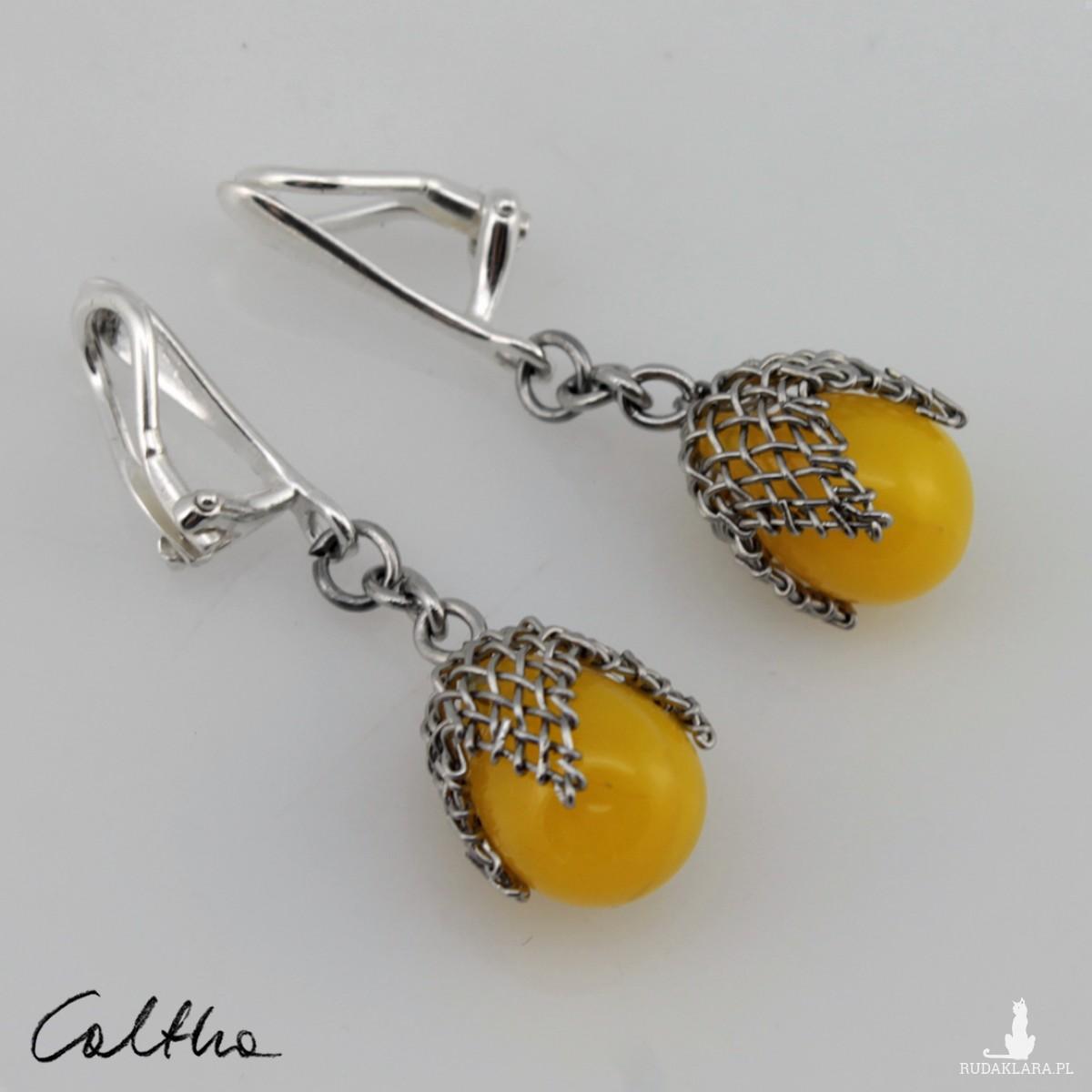 Żółte w siateczce - klipsy