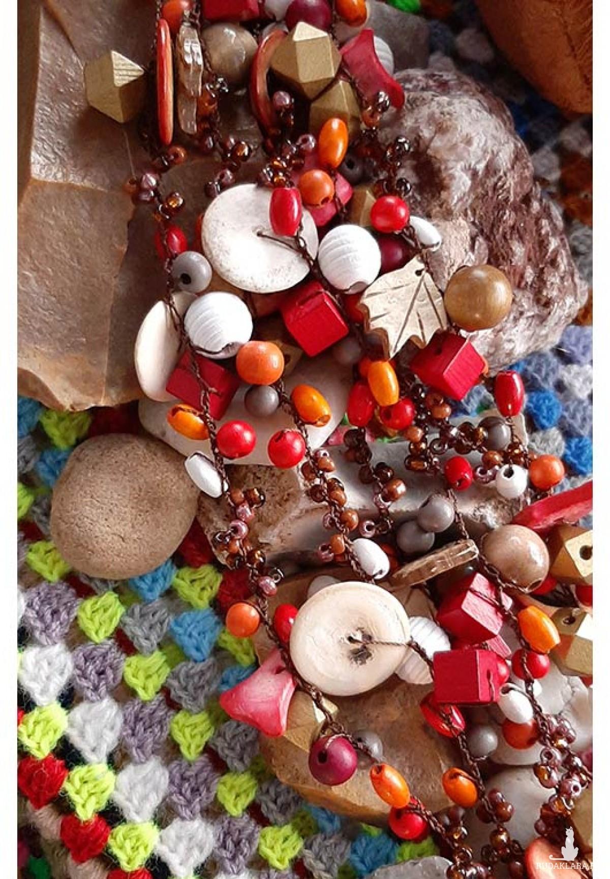4514 naszyjnik kolia jesienne kolory
