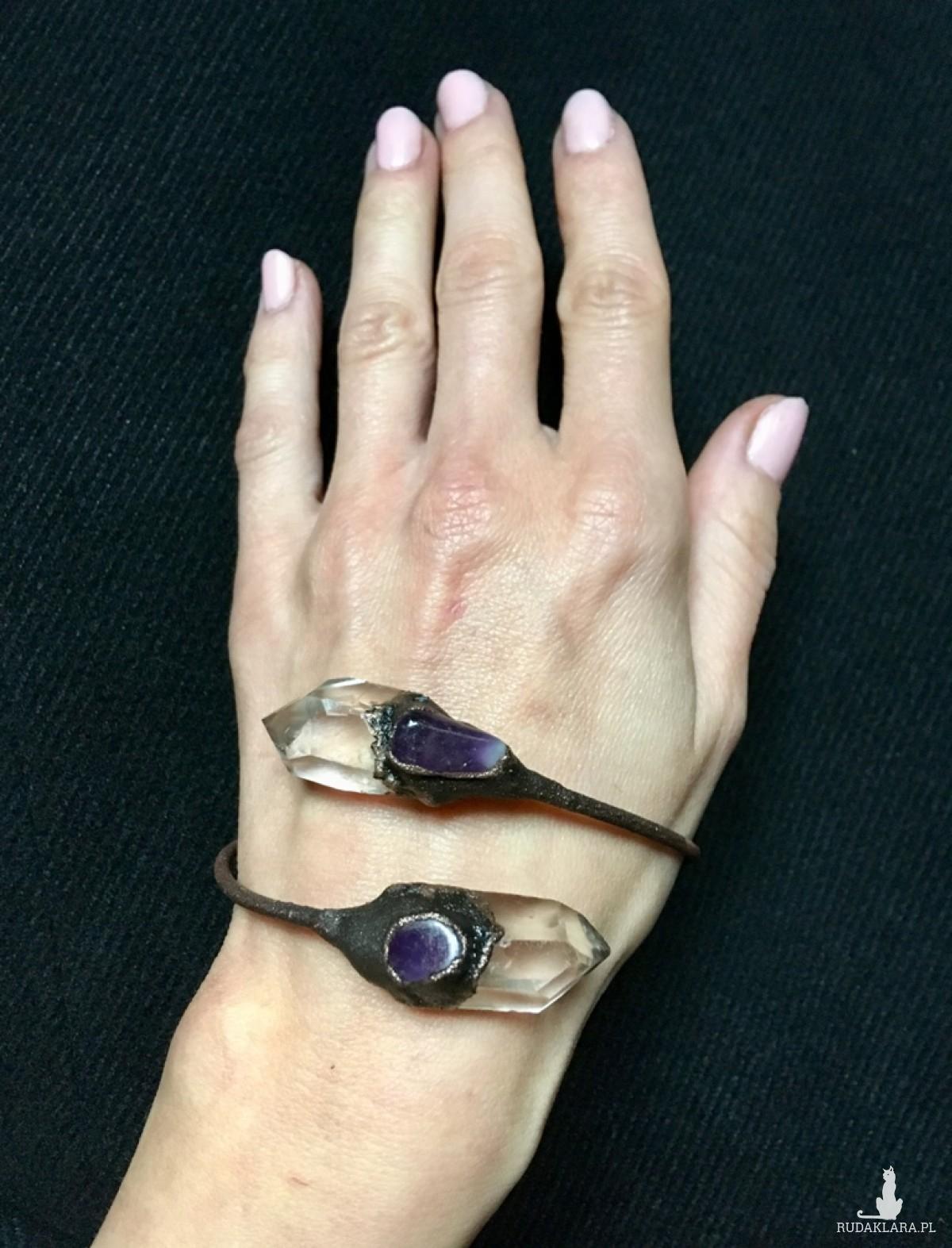 Elektroformowana bransoletka z kryształem górskim i ametystem