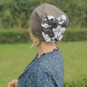 czapka damska szaro/zielona góra  kwiatowa, smerfetka