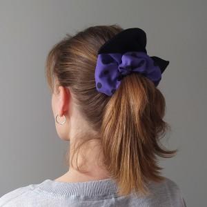 Gumka do włosów (scrunchie) – fioletowe z czarnymi skrzydełkami