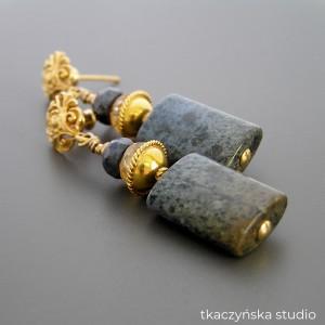 Anna Karenina – kolczyki z dumortierytami, srebro pozłacane
