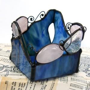 Świecznik niebieski z kryształami