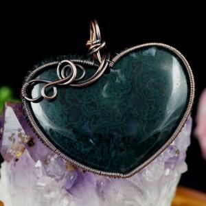 Agat, Miedziany wisior z agatem mszysty, ręcznie wykonany, prezent dla niej, prezent dla mamy, prezent urodzinowy, niepowtarzalna biżuteria