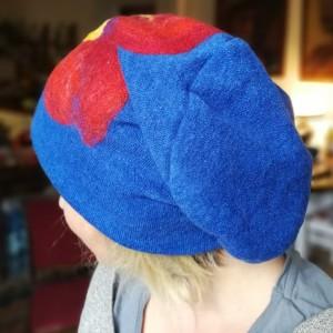 czapka wełniana niebieska handmade zimowa