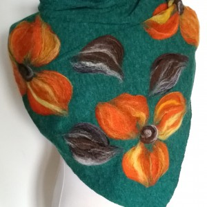 Zielona chusta handmade wełniana handmade