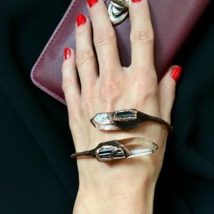 miedziana bransoletka z kryształem górskim i czarnym turmalinem