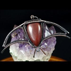 Krwawnik, Miedziany wisior z kamieniem krwistym ręcznie wykonany, prezent dla niej, prezent dla mamy prezent niepowtarzalna biżuteria