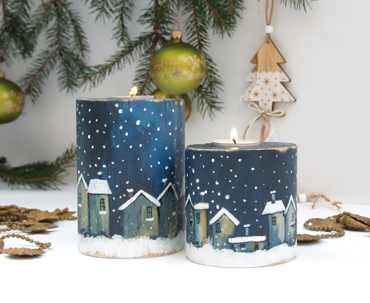 2 drewniane świeczniki - Zimowe miasteczko