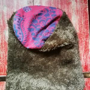 czapka kolor szary miękkie sztuczne futerko