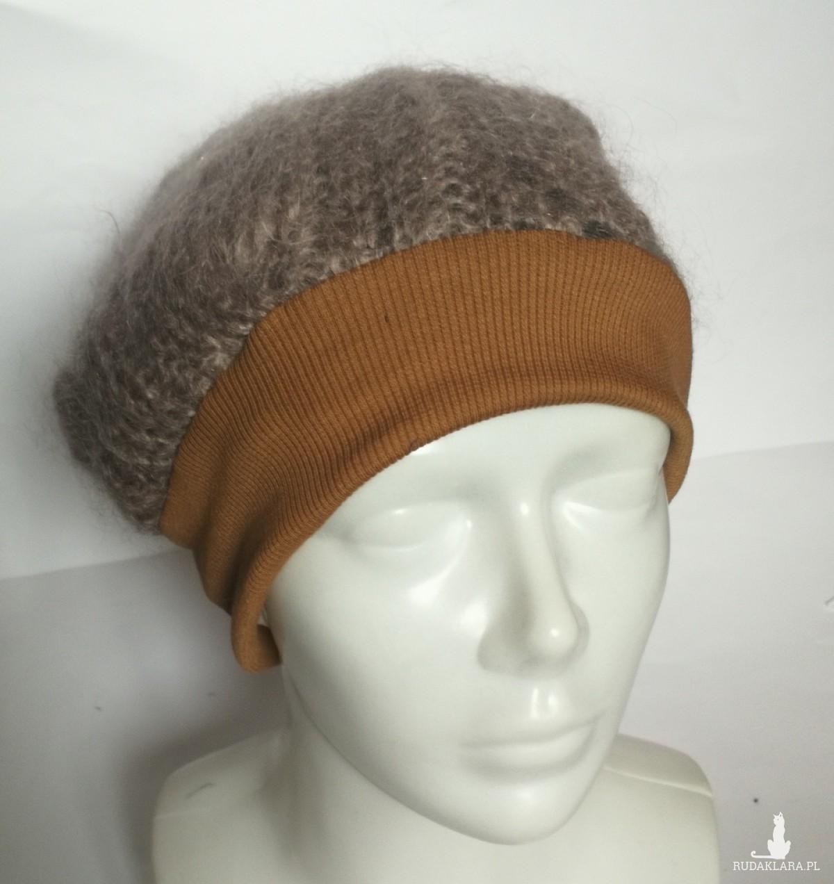 czapka damska wełniana brązowa