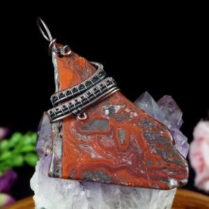 Agat crazy lace miedziany wisior z agatem koronkowym, prezent dla niej, prezent dla mamy, prezent dla żony, biżuteria ręcznie robiona unisex