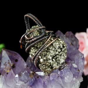 Piryt, miedziany wisior z surową bryłką pirytu, prezent dla niej, prezent dla dziewczyny, prezent dla niego, biżuteria ręcznie robiona