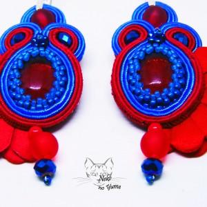 Fleur -  czerwono chabrowe kolczyki sutasz