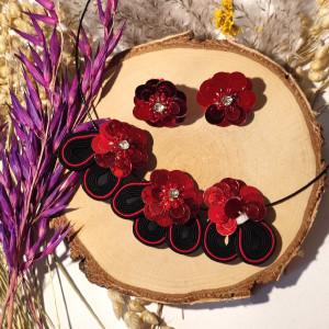 Anemony - zestaw kolczyki i naszyjnik wieczorowej biżuterii