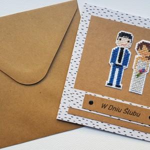 Haftowana kartka ślubna