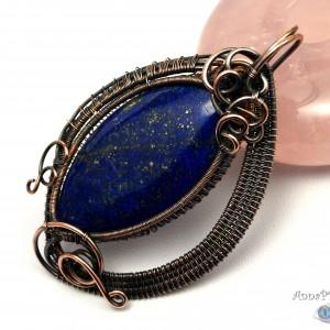Lapis lazuli, Miedziany wisior, ręcznie wykonany, prezent dla niej, prezent dla mamy, prezent urodzinowy, biżuteria ręcznie robiona