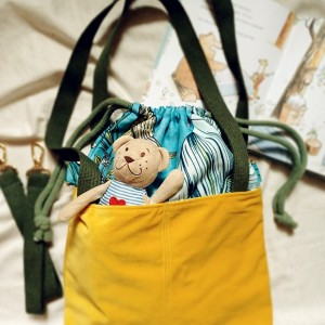 Turkusowo-żółta torba z kominem do wóżka