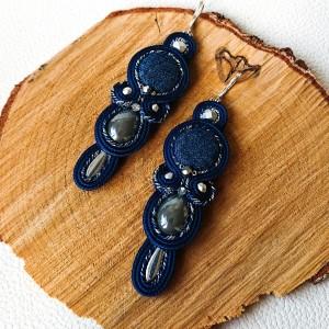 Granatowo-szare kolczyki z jeansowym kaboszonem
