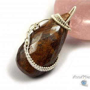 Bronzyt, Srebrny wisiorek z bronzytem, ręcznie wykonany, prezent dla niej, prezent dla mamy, prezent urodzinowy, niepowtarzalna biżuteria