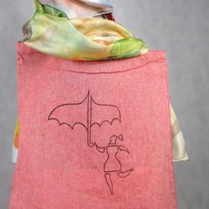 """Torba bawełniana ręcznie malowana """"Dziewczyna z parasolką""""."""