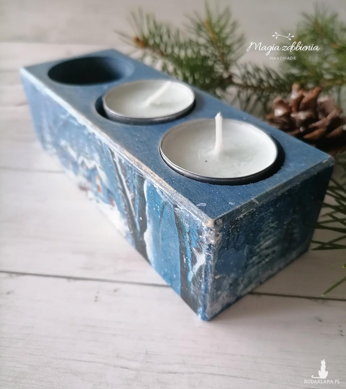 Potrójny świecznik z zimowym pejzażem