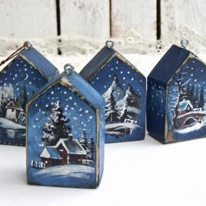 4 Małe domki z zimowym pejzażem - zawieszki, bombki