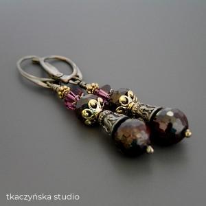 Anna Karenina – kolczyki z granatami, srebro