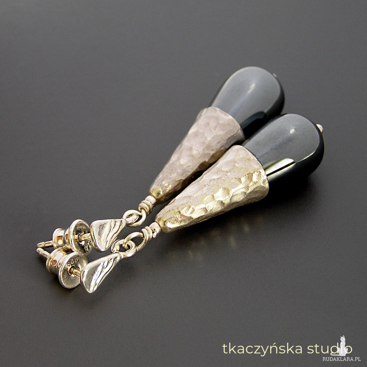 Kolczyki z kroplami hematytu, srebro 925