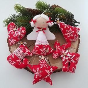 Komplet zawieszek świątecznych- czerwone śnieżynki