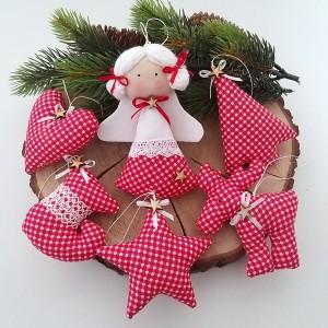 Komplet zawieszek świątecznych- czerwona krateczka