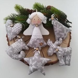 Komplet zawieszek świątecznych- szare śnieżynki